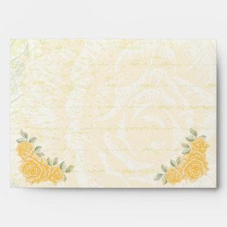 Vintage yellow roses wedding envelope