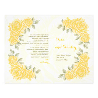 Vintage yellow roses wedding folded program flyer