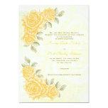 "Vintage yellow roses wedding invitation 5"" x 7"" invitation card"