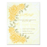 "Vintage yellow roses wedding RSVP response card 4.25"" X 5.5"" Invitation Card"