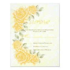Vintage yellow roses wedding RSVP response card 4.25