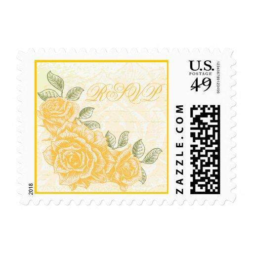 Vintage yellow roses wedding RSVP stamp