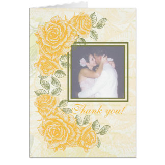 Vintage yellow roses wedding Thank You note card