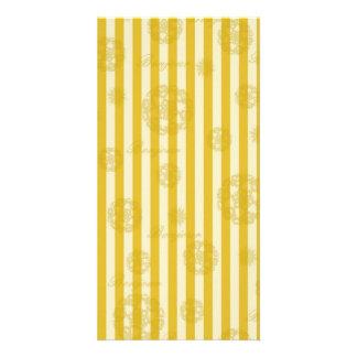 Vintage Yellow Stripes Gold Paris Damask Pattern Card