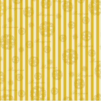 Vintage Yellow Stripes Gold Paris Damask Pattern Cutout