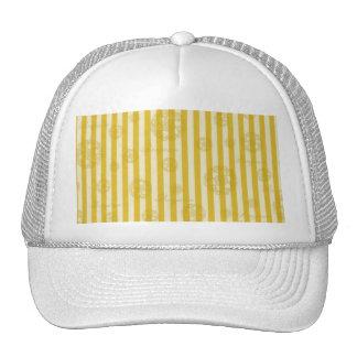 Vintage Yellow Stripes Gold Paris Damask Pattern Mesh Hat