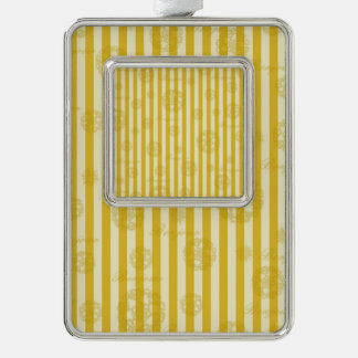Vintage Yellow Stripes Gold Paris Damask Pattern Silver Plated Framed Ornament
