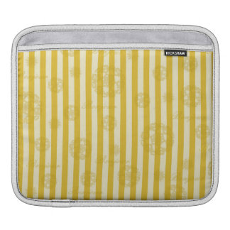 Vintage Yellow Stripes Gold Paris Damask Pattern Sleeve For iPads