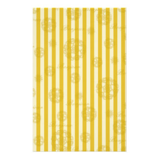 Vintage Yellow Stripes Gold Paris Damask Pattern Stationery