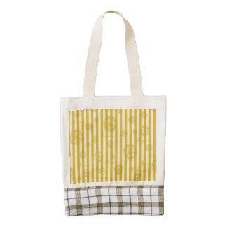 Vintage Yellow Stripes Gold Paris Damask Pattern Zazzle HEART Tote Bag