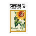 Vintage Yellow Sunflower Names Date Wedding Stamps