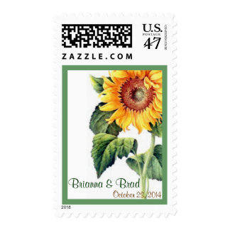 Vintage Yellow Sunflower Names Wedding Stamp