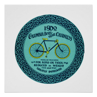 Vintage Yellow Turquoise Columbia Bicycle Ad Poster