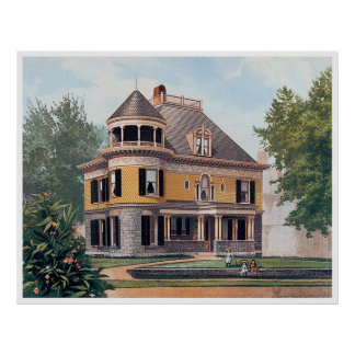 Vintage Yellow Victorian Style Home Poster