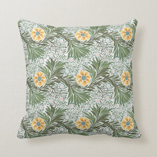 Vintage Yellow White and Green Floral Baroque Throw Pillow