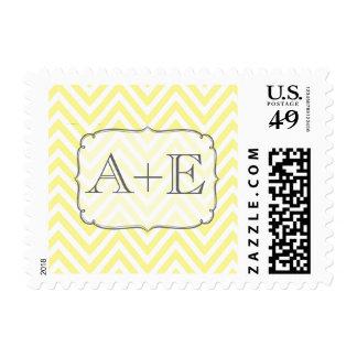 Vintage Yellow & White Chevron Monogram Postage