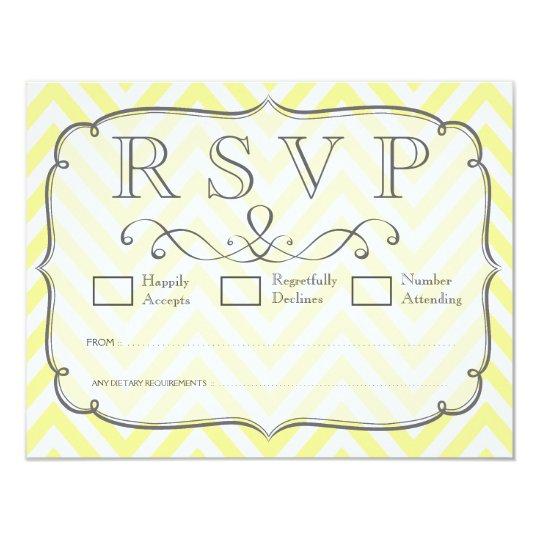 Vintage Yellow & White Chevron Wedding RSVP Cards