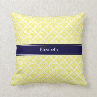 Vintage Yellow Wht Damask #3 Navy Name Monogram Throw Pillow