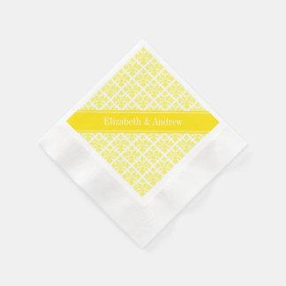Vintage Yellow Wht Damask #3 Yellow Name Monogram Napkin
