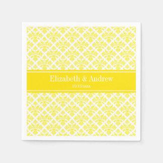 Vintage Yellow Wht Damask #3 Yellow Name Monogram Paper Napkin