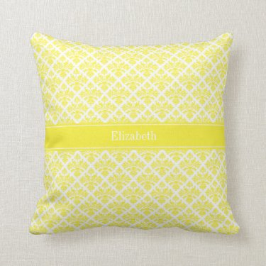 Vintage Yellow Wht Damask #3 Yellow Name Monogram Throw Pillow
