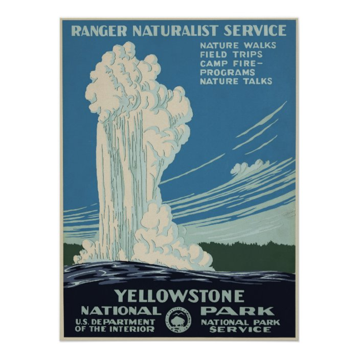 Retro National Park Posters: Vintage Yellowstone National Park Advertisement Poster