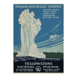 Vintage Yellowstone National Park Geyser WPA Poster