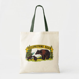Vintage Yellowstone National Park with Brown Bears Budget Tote Bag