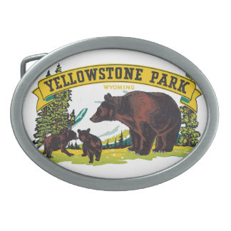 Vintage Yellowstone National Park with Brown Bears Oval Belt Buckle