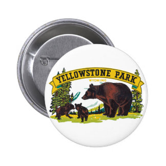 Vintage Yellowstone National Park with Brown Bears 2 Inch Round Button