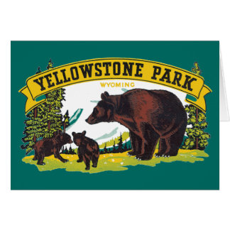 Vintage Yellowstone National Park with Brown Bears Stationery Note Card