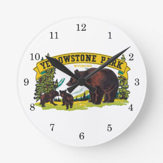 Vintage Yellowstone National Park with Brown Bears Round Wallclock