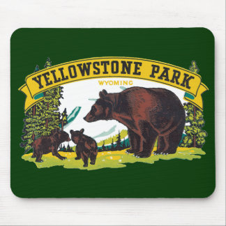 Vintage Yellowstone National Park with Brown Bears Mouse Pad