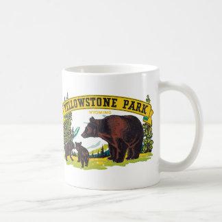 Vintage Yellowstone National Park with Brown Bears Classic White Coffee Mug