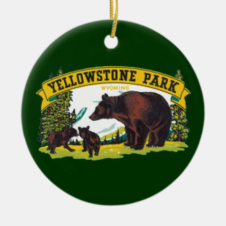 Vintage Yellowstone National Park with Brown Bears Double-Sided Ceramic Round Christmas Ornament