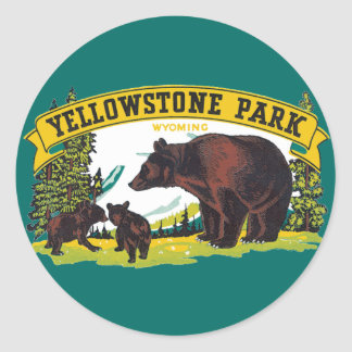 Vintage Yellowstone National Park with Brown Bears Classic Round Sticker