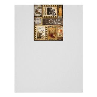 Vintage Yesterday Love Woman Cinema Chocolate Letterhead