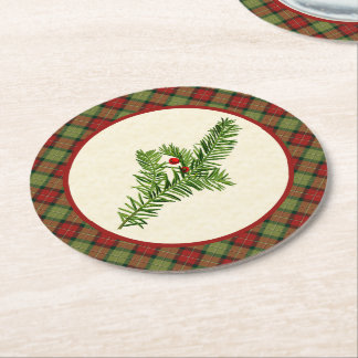 Vintage Yew Rustic Christmas Plaid Round Paper Coaster