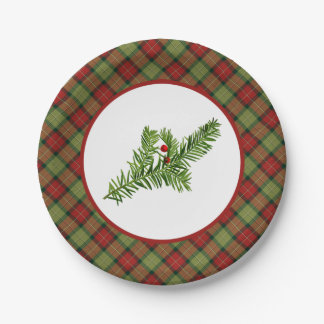 Vintage Yew with Rustic Christmas Plaid Paper Plate
