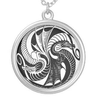 Vintage Yin Yang Dragons Necklace
