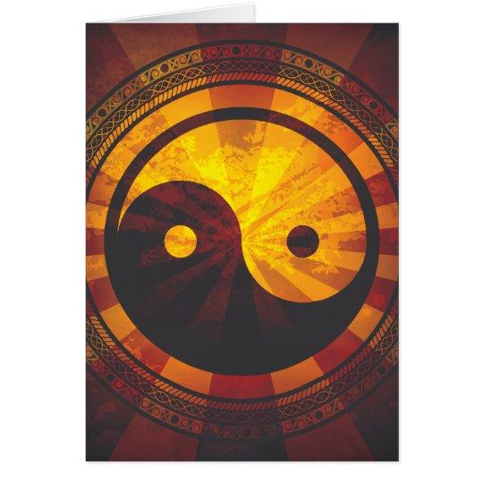 Vintage Yin Yang Symbol Print Card