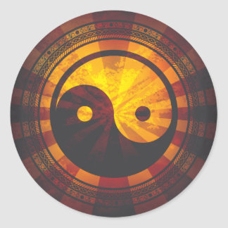 Vintage Yin Yang Symbol Print Classic Round Sticker