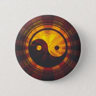 Vintage Yin Yang Symbol Print Pinback Button