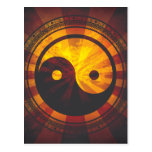 Vintage Yin Yang Symbol Print Post Card