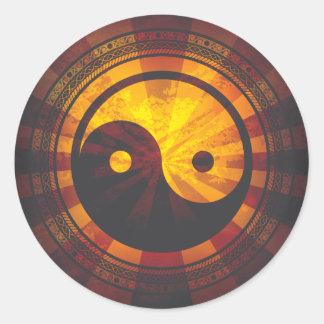Vintage Yin Yang Symbol Print Round Stickers