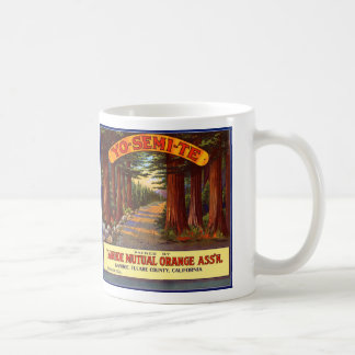 Vintage Yo-Semi-Te Orange Label Classic White Coffee Mug