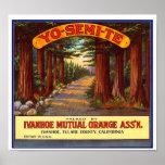Vintage Yo-Semi-Te Orange Label Poster