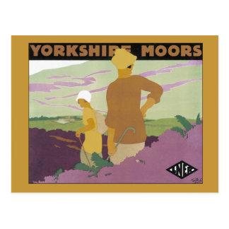 Vintage Yorkshire Moors, Railway 1920s travel ad Postcard