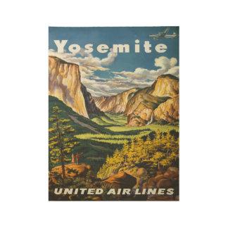 Vintage Yosemite National Park Airline Travel Wood Poster