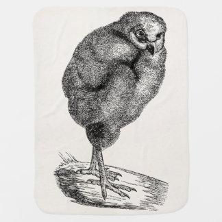 Vintage Young Barn Owl Bird - Baby Birds Template Stroller Blanket
